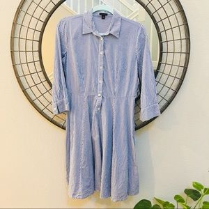 Ann Taylor Fit & Flare cotton stripped dress size4